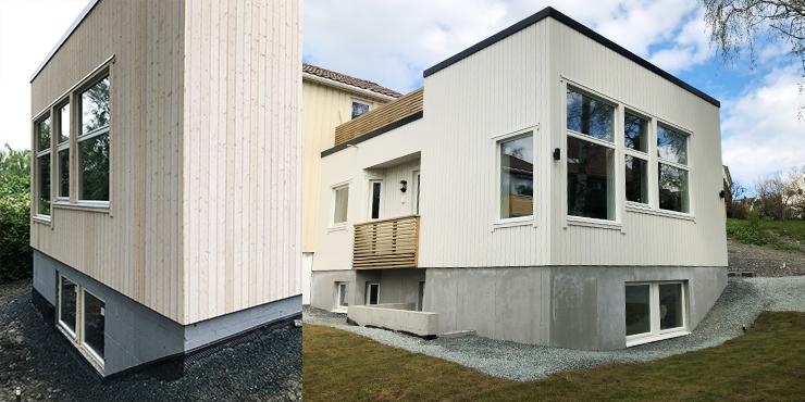 Viser bilde av fasade, før og etter maling